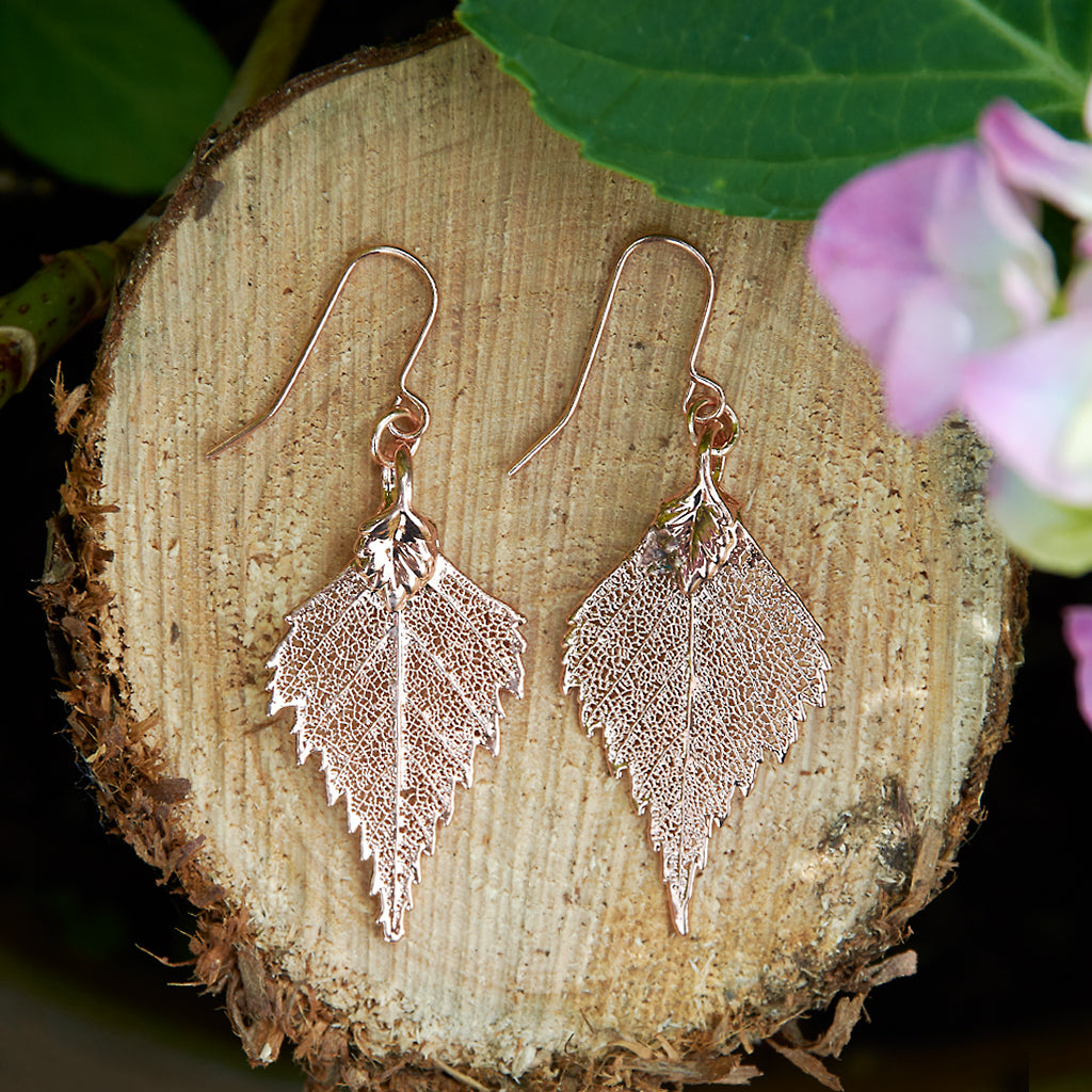 Birch Rose Gold Plate Leaf Earrings