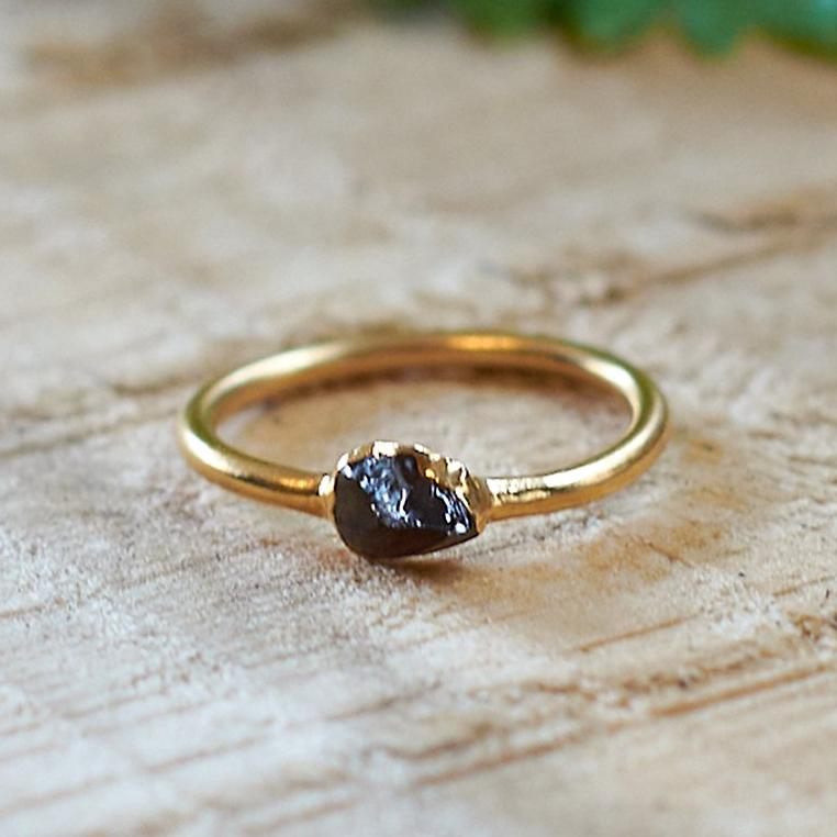 Gold Plate Smoky Quartz Stacking Ring, Size N 1/2