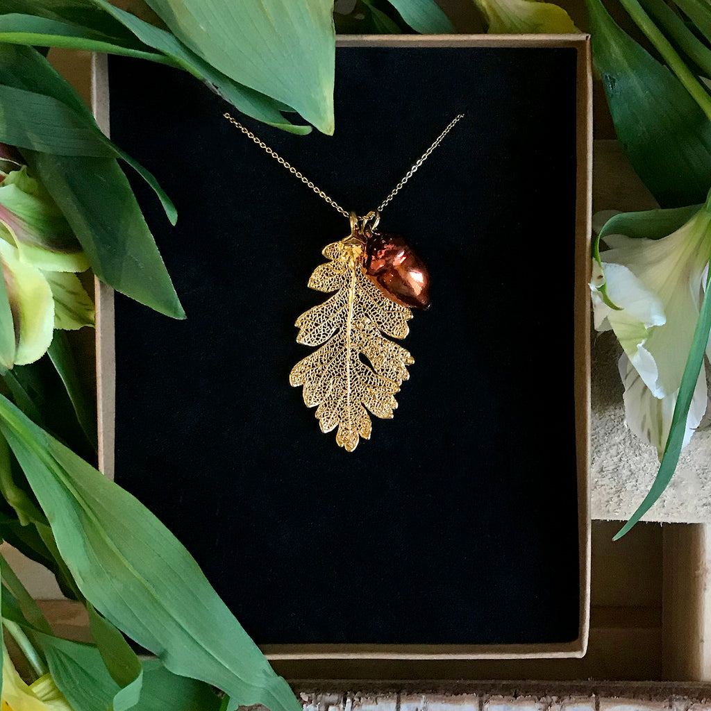 Acorn Autumn Copper and Oak Gold Plate Leaf Duo