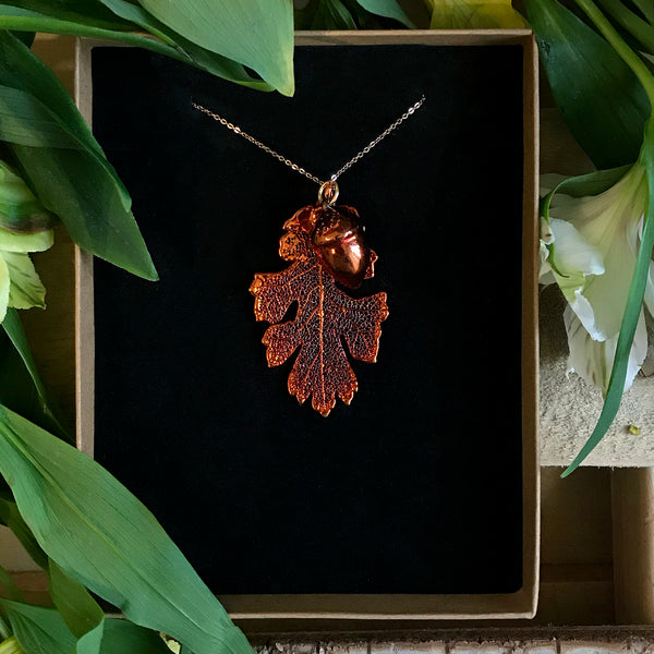 Acorn and Oak Autumn Copper Leaf Duo