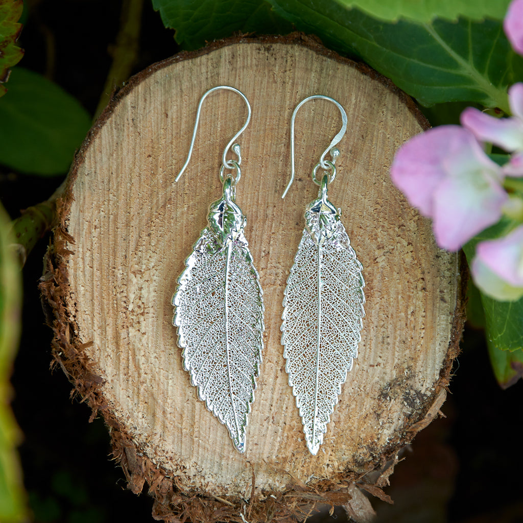 Elm Silver Plate Leaf Earrings