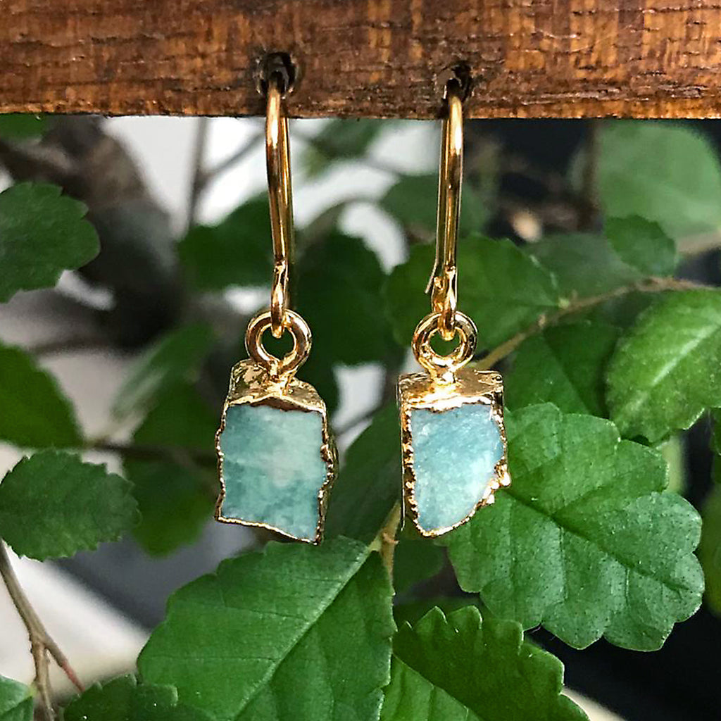 Gold Amazonite Raw Drop Earrings