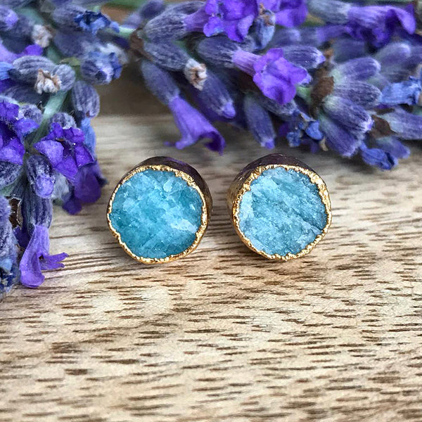 Gold Amazonite Infinity Stud Earrings