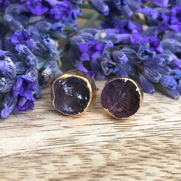Gold Amethyst Infinity Stud Earrings