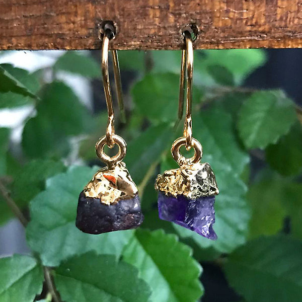 Gold Amethyst Raw Drop Earrings