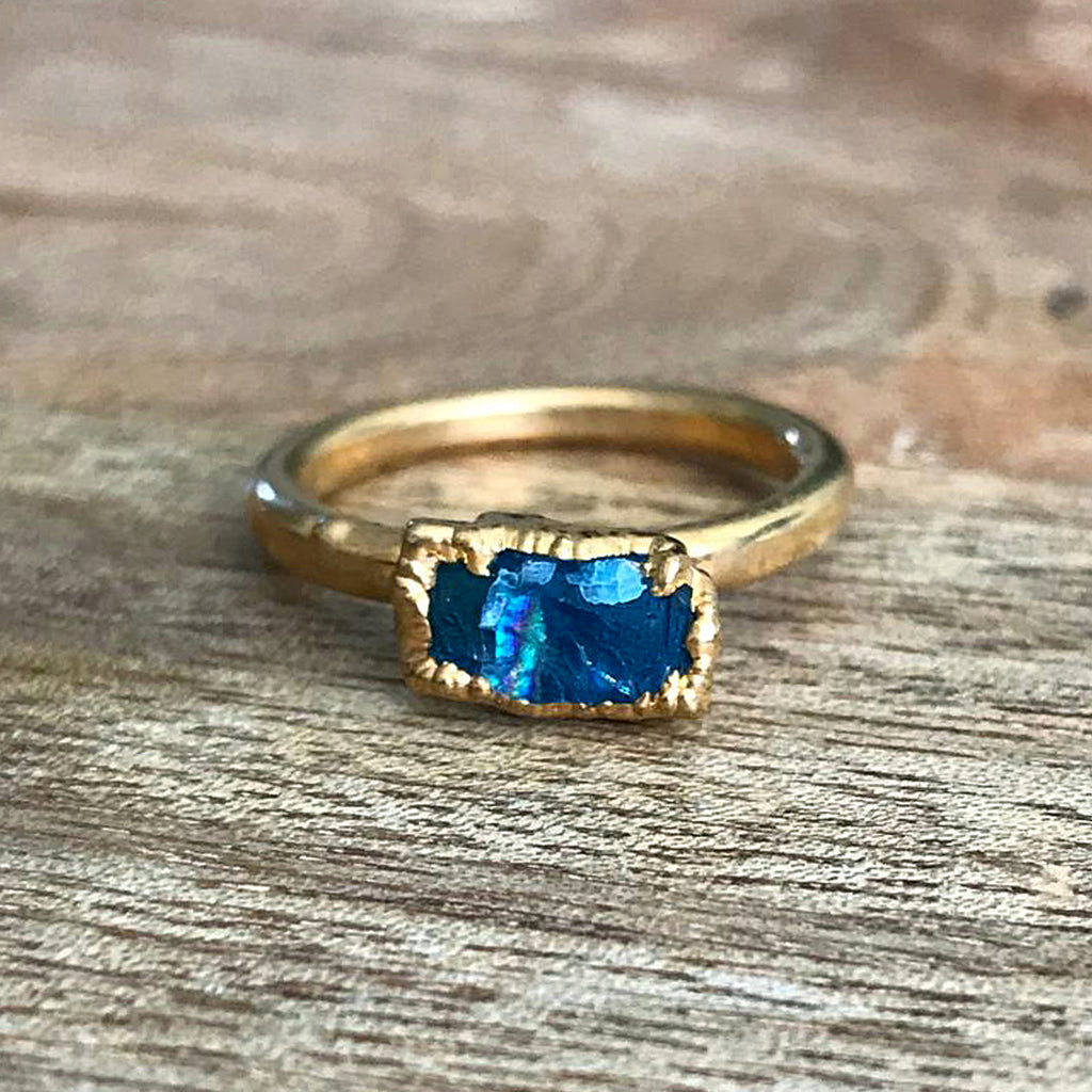 Gold Plate Apatite Stacking Ring, UK L, US 5 3/4