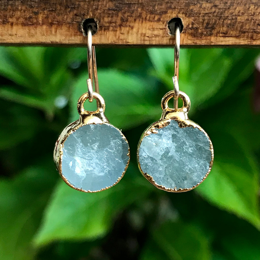 Gold Plate Aquamarine Infinity Drop Earrings