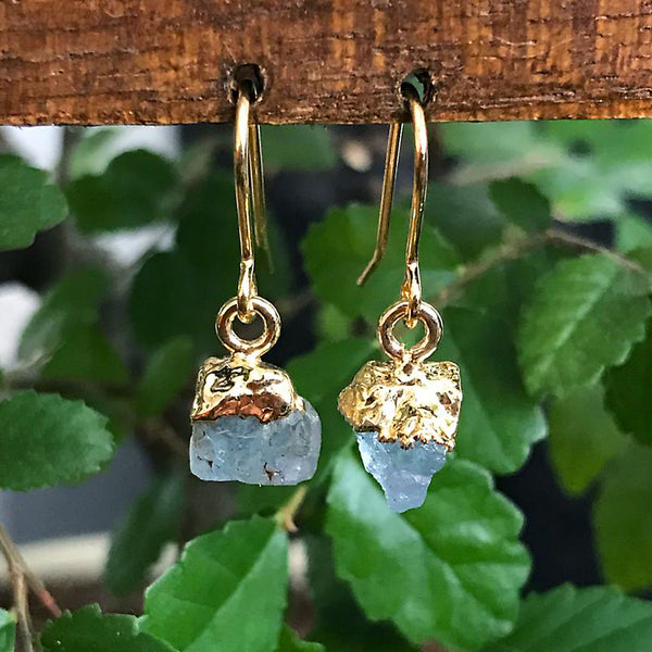 Gold Aquamarine Raw Drop Earrings