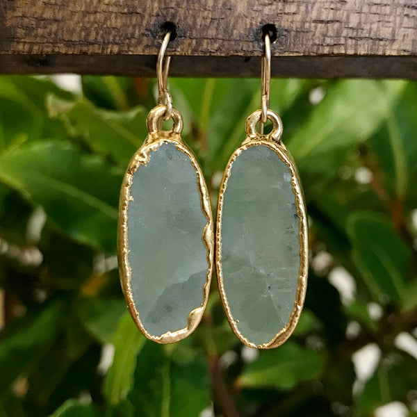 Gold Plate Aquamarine Oval Drop Earrings