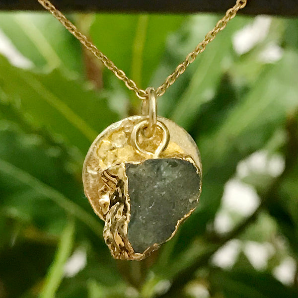Gold Plate Aquamarine Raw Pendant
