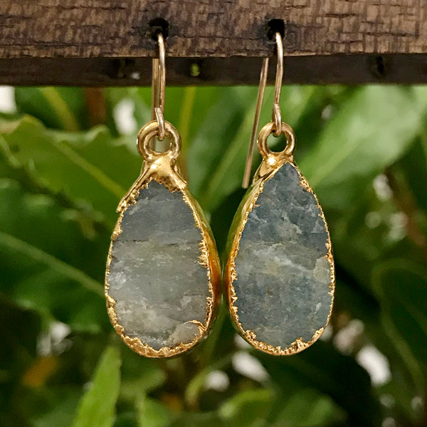 Gold plate Aquamarine teardrop earrings