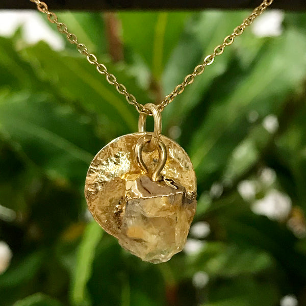 Gold Plate Citrine Raw Pendant