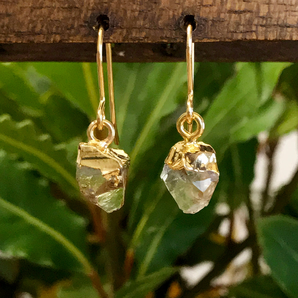 Gold Citrine Raw Drop Earrings
