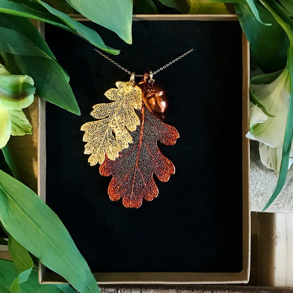 Acorn and Oak Autumn Copper and Gold Plate Leaf Trio