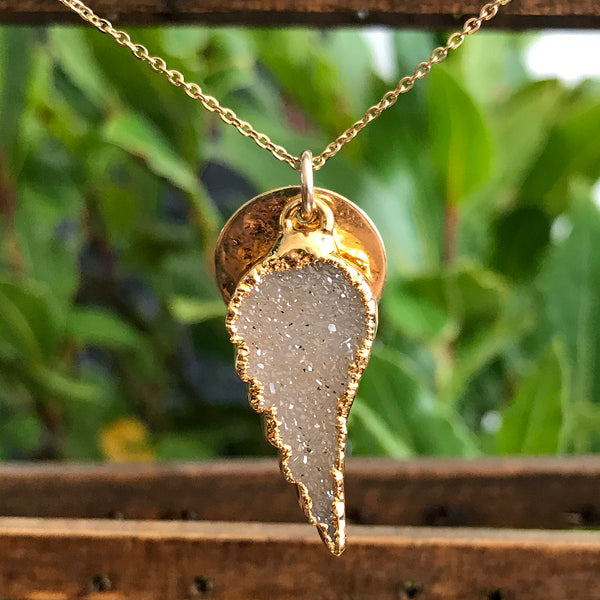 Gold Plate Druzy Angel Wing Pendant