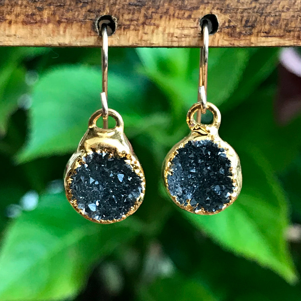 Gold Plate Druzy Infinity Drop Earrings
