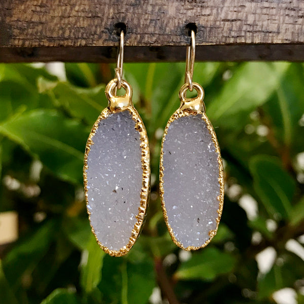 Gold Plate Druzy Oval Drop Earrings