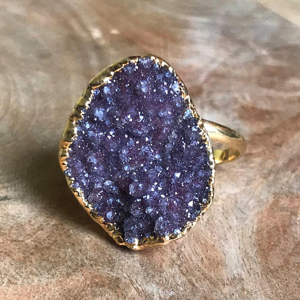 Gold plate adjustable druzy ring, UK Q - T, US 8 - 10