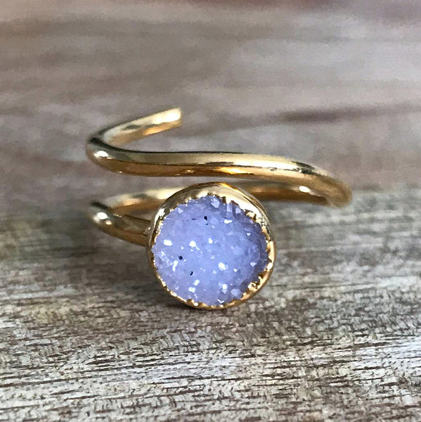 Gold Plate Druzy Stacking Ring, UK I - K