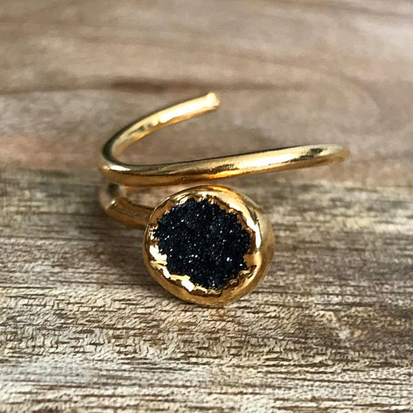 Gold Plate Druzy Stacking Ring, UK K - N