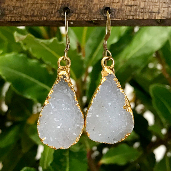 Gold Plate Quartz Druzy Earrings