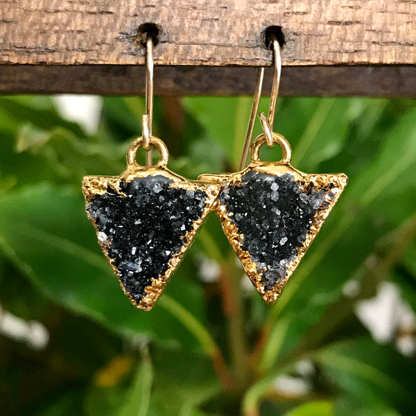 Gold plate druzy triangle earrings