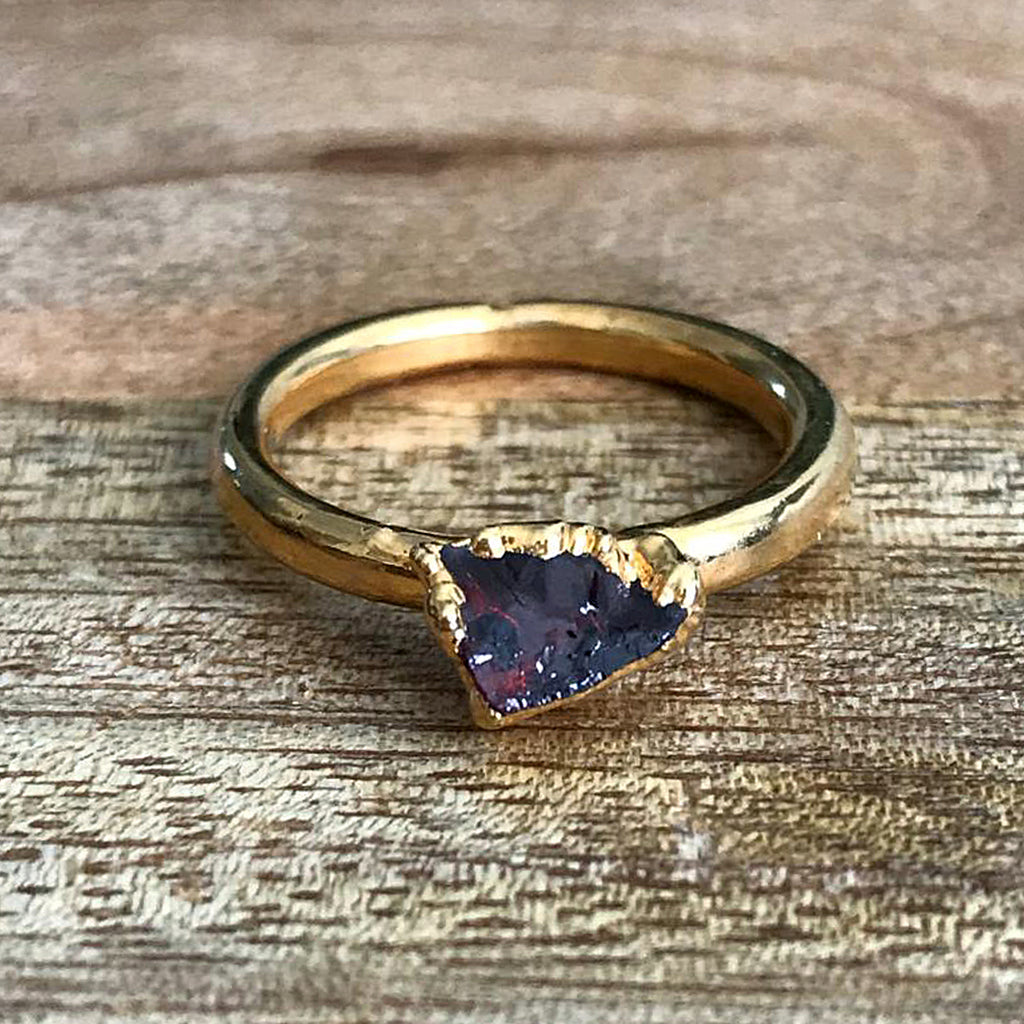 Gold Plate Garnet Stacking Ring, UK L, US 5 1/4