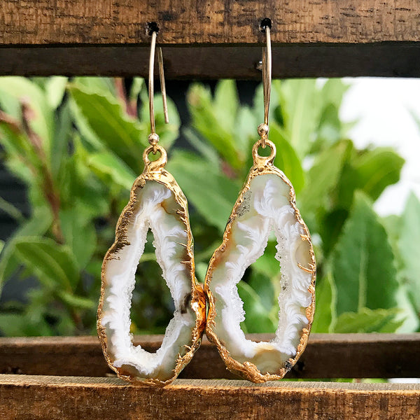Gold Plate Agate Geode Earrings