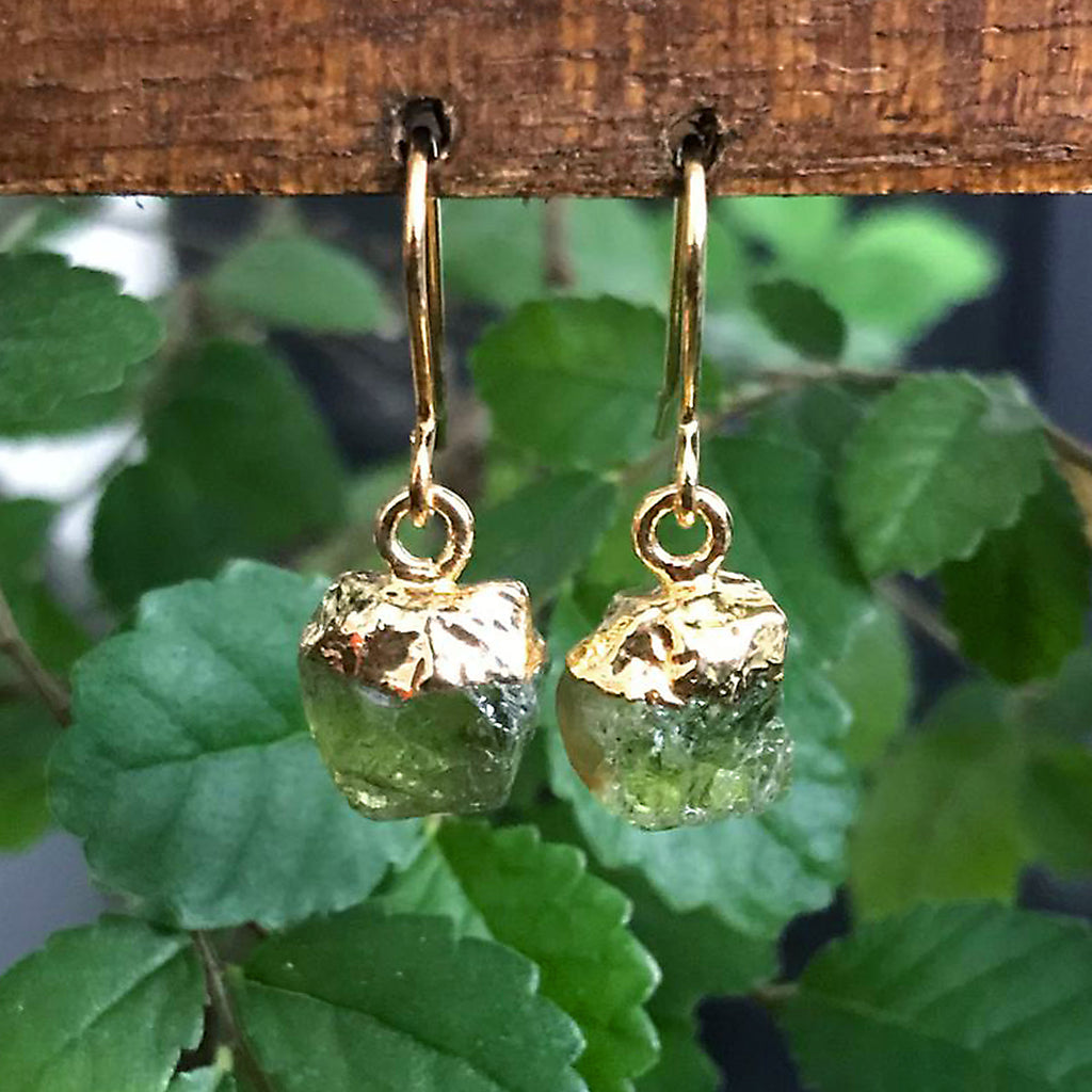 Gold Green Tourmaline Raw Drop Earrings
