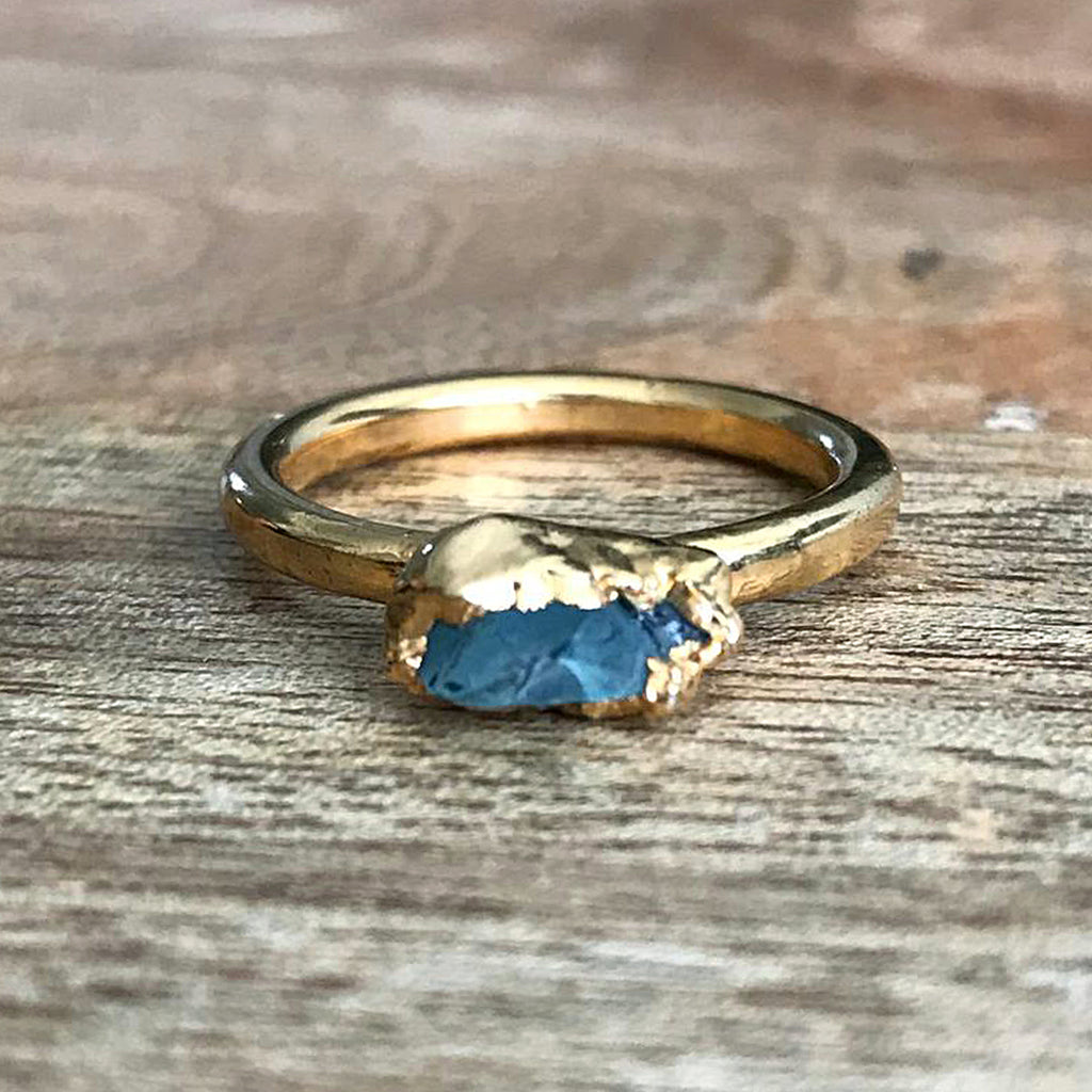 Gold Plate Labradorite Stacking Ring, UK L, US 5 3/4