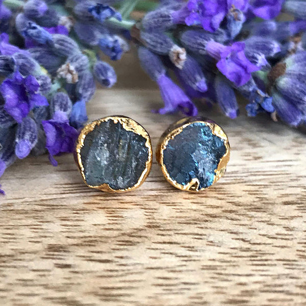 Gold Labradorite Infinity Stud Earrings