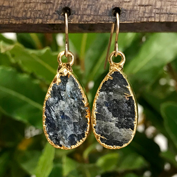 Gold Plate Labradorite Teardrop Earrings
