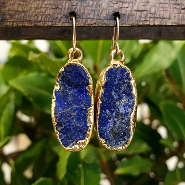 Gold Plate Lapis Lazuli Oval Drop Earrings