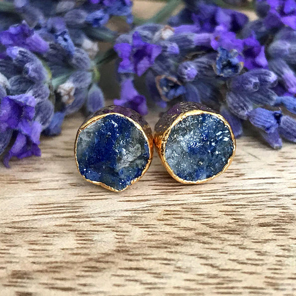 Gold Lapis Lazuli Infinity Stud Earrings