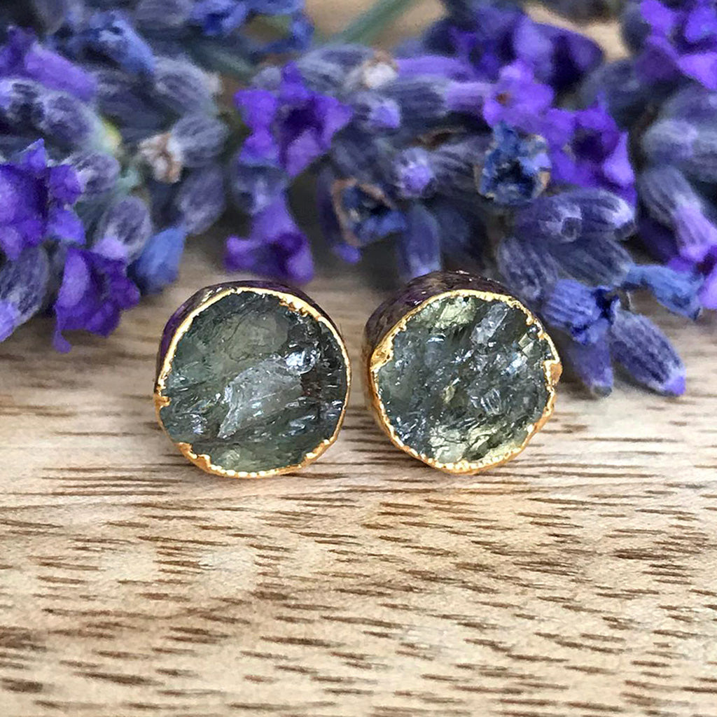 Gold Lemon Quartz Infinity Stud Earrings