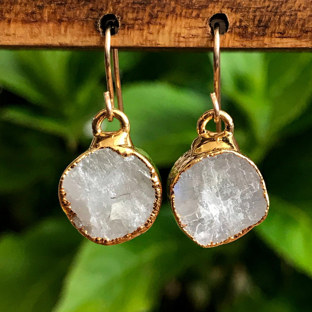 Gold Plate Moonstone Infinity Drop Earrings