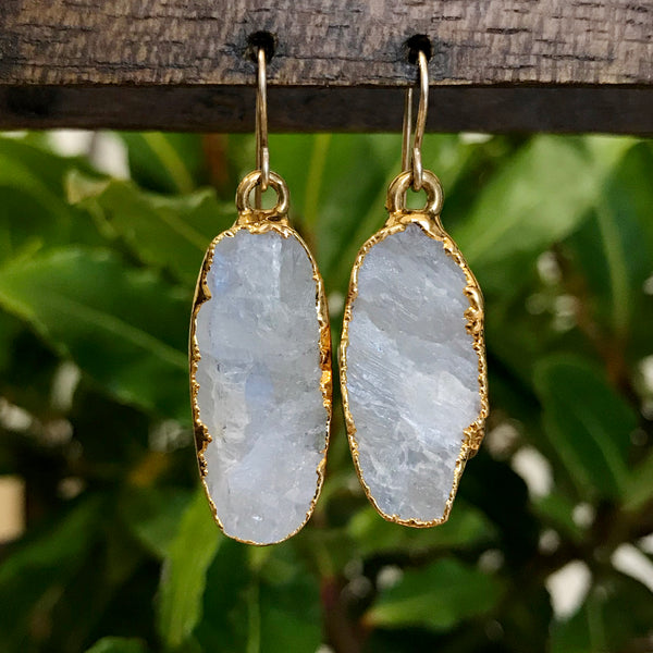 Gold Plate Moonstone Oval Drop Earrings