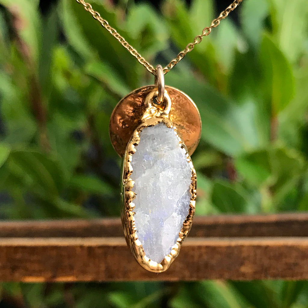 Gold Plate Moonstone Oval Pendant