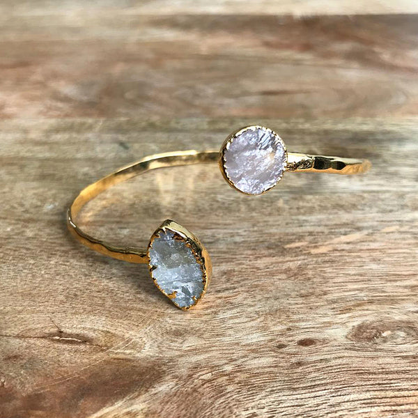 Gold Plate Rose Quartz and Moonstone Bangle