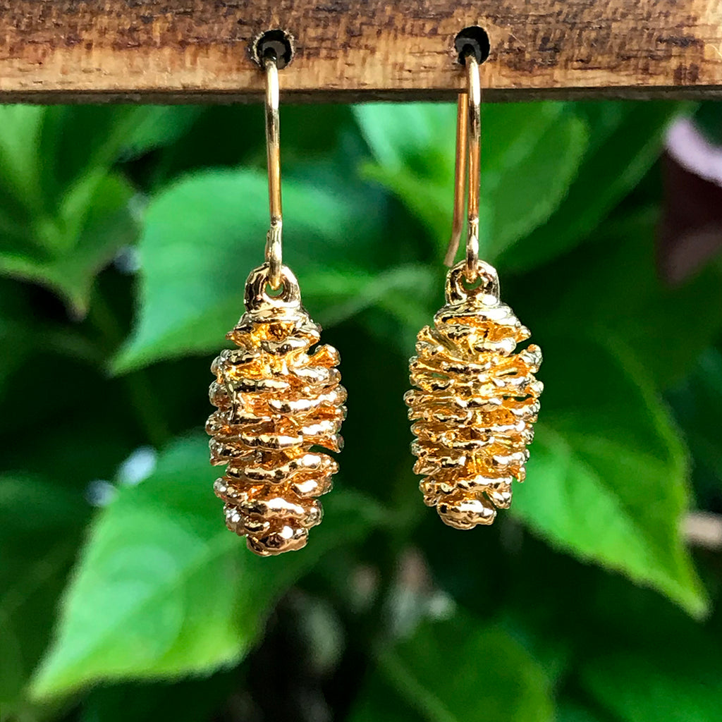 Pine Cone Gold Plate Earrings