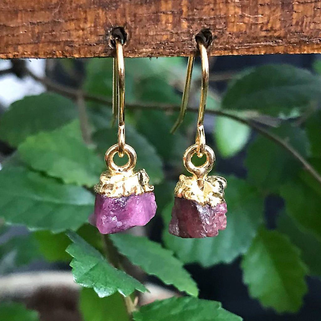 Gold Pink Tourmaline Raw Drop Earrings