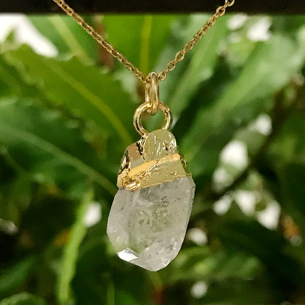 Gold Plate Quartz Raw Pendant