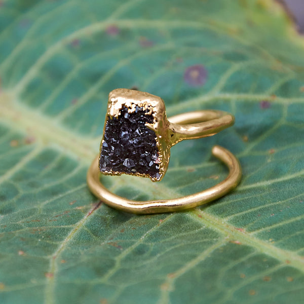 Gold plate adjustable black quartz druzy rectangle ring, size L-N