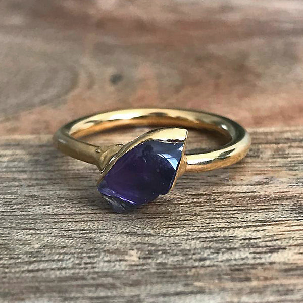 Gold Plate Amethyst Stacking Ring, UK M, US 6