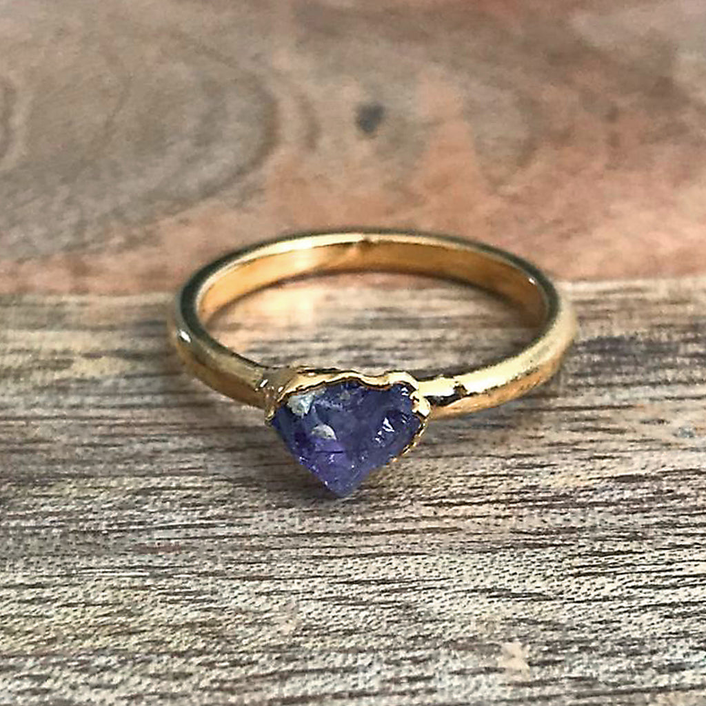 Gold Plate Amethyst Stacking Ring, UK I 1/2, US 4 1/2