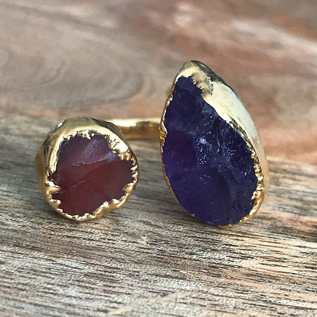 Gold plate Amethyst & Carnelian double ring, UK P-Q, US 8