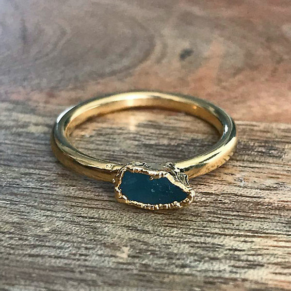 Gold Plate Aquamarine Stacking Ring, UK O, US 7