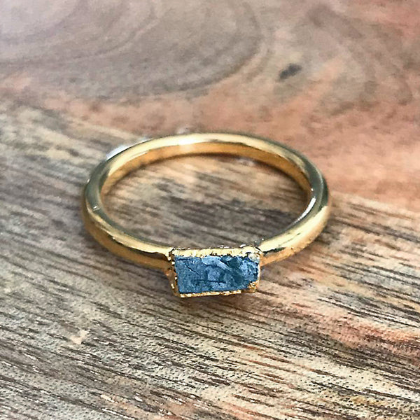 Gold Plate Aquamarine Stacking Ring, UK Q, US 8