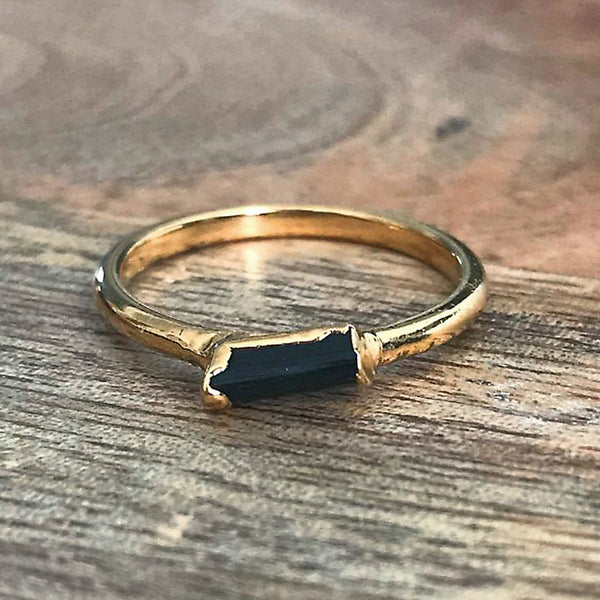 Gold Plate Black Tourmaline Stacking Ring UK K 1/2, US 5 1/2