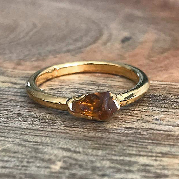 Gold Plate Citrine Stacking Ring UK I, US 4 1/4
